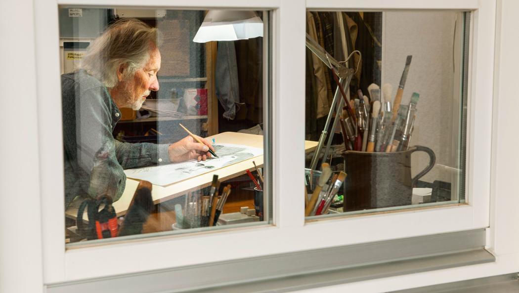 Klaus Voormann in his studio, 2016, Porsche AG