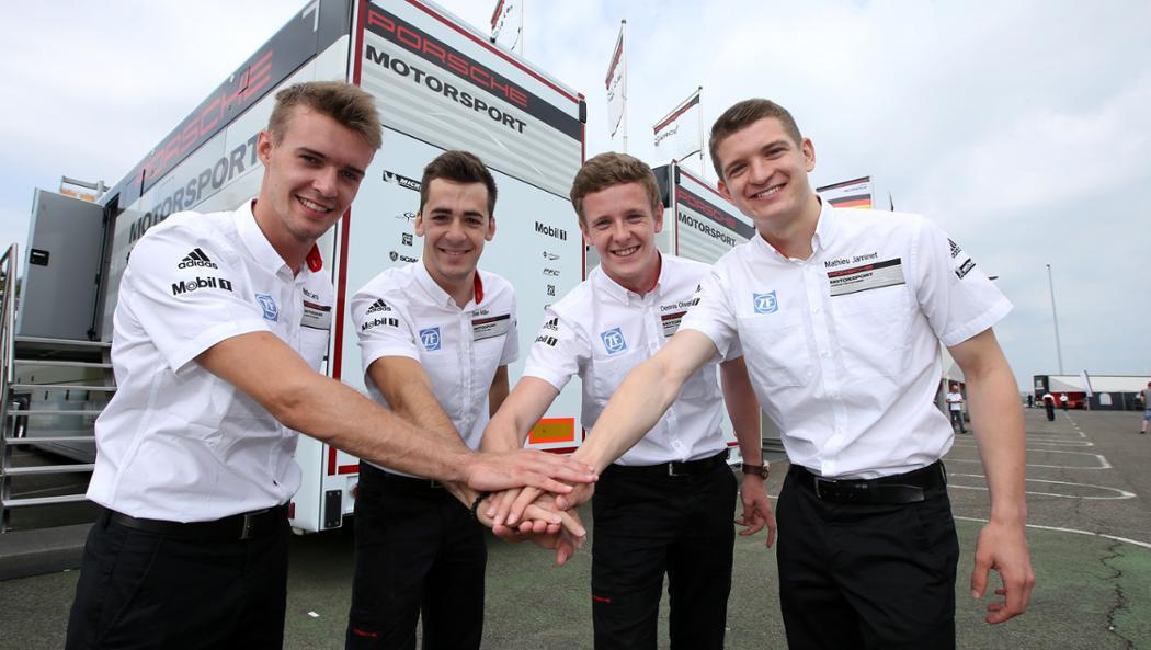 Matteo Cairoli, Sven Müller, Dennis Olsen, Mathieu Jaminet (l-r), 2016, Porsche AG